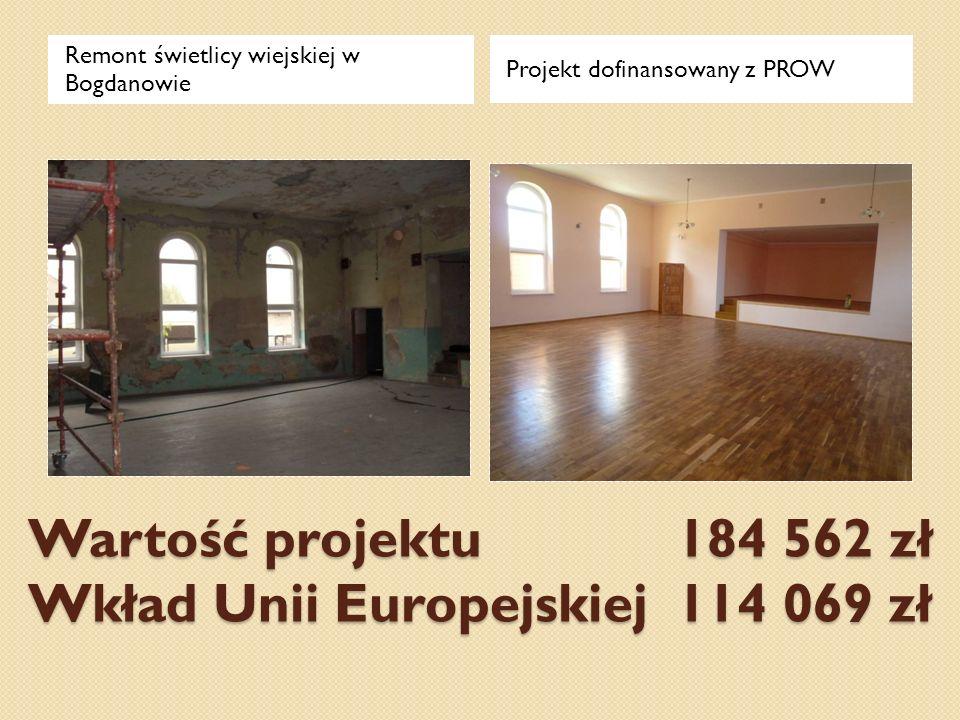 Wartość projektu 184 562 zł Wkład Unii Europejskiej 114 069 zł Remont świetlicy wiejskiej w Bogdanowie Projekt dofinansowany z PROW