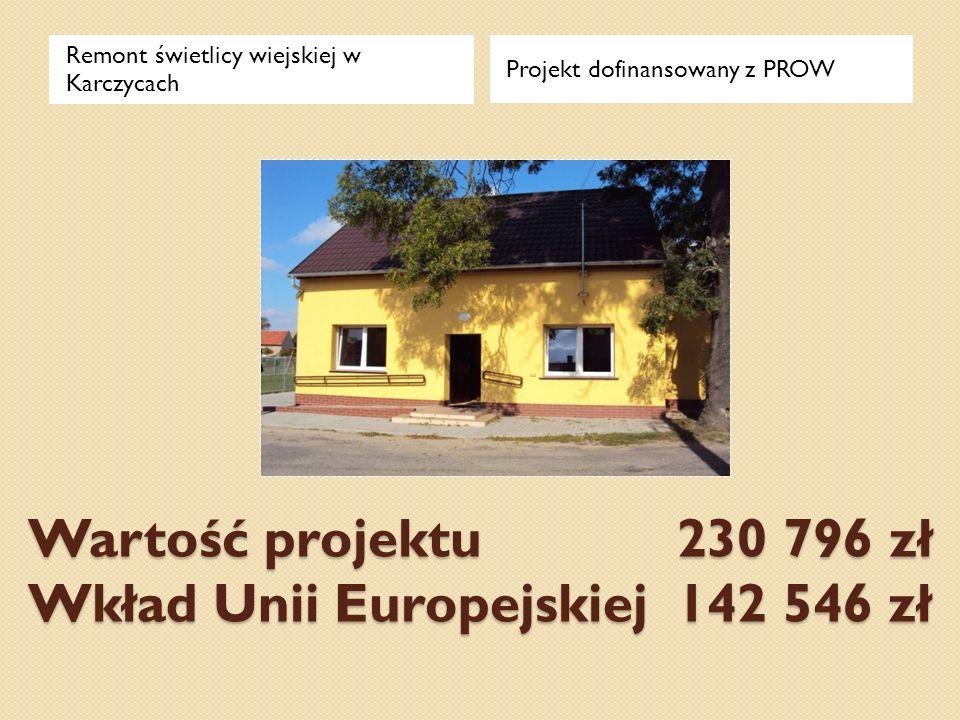 Wartość projektu 230 796 zł Wkład Unii Europejskiej 142 546 zł Remont świetlicy wiejskiej w Karczycach Projekt dofinansowany z PROW