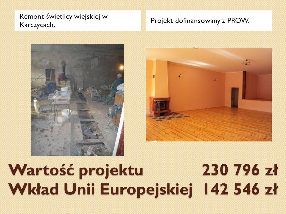 Wartość projektu 230 796 zł Wkład Unii Europejskiej 142 546 zł Remont świetlicy wiejskiej w Karczycach. Projekt dofinansowany z PROW.