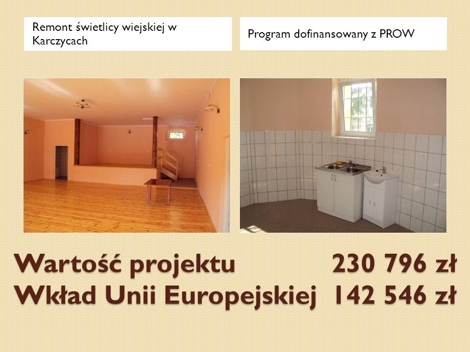 Wartość projektu 230 796 zł Wkład Unii Europejskiej 142 546 zł Remont świetlicy wiejskiej w Karczycach Program dofinansowany z PROW