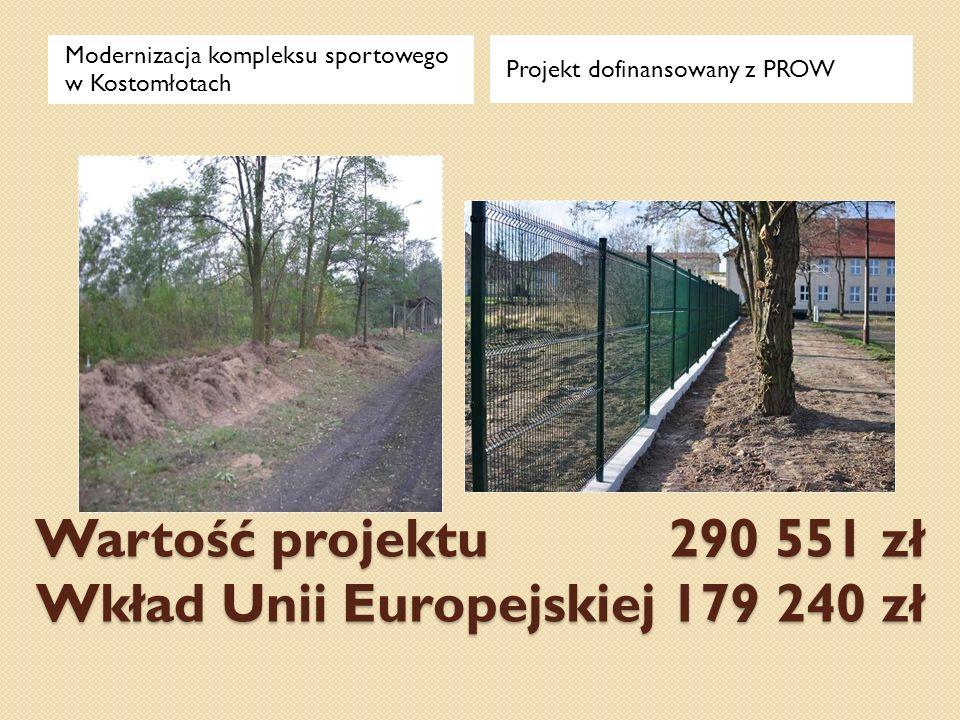 Wartość projektu 290 551 zł Wkład Unii Europejskiej 179 240 zł Modernizacja kompleksu sportowego w Kostomłotach Projekt dofinansowany z PROW