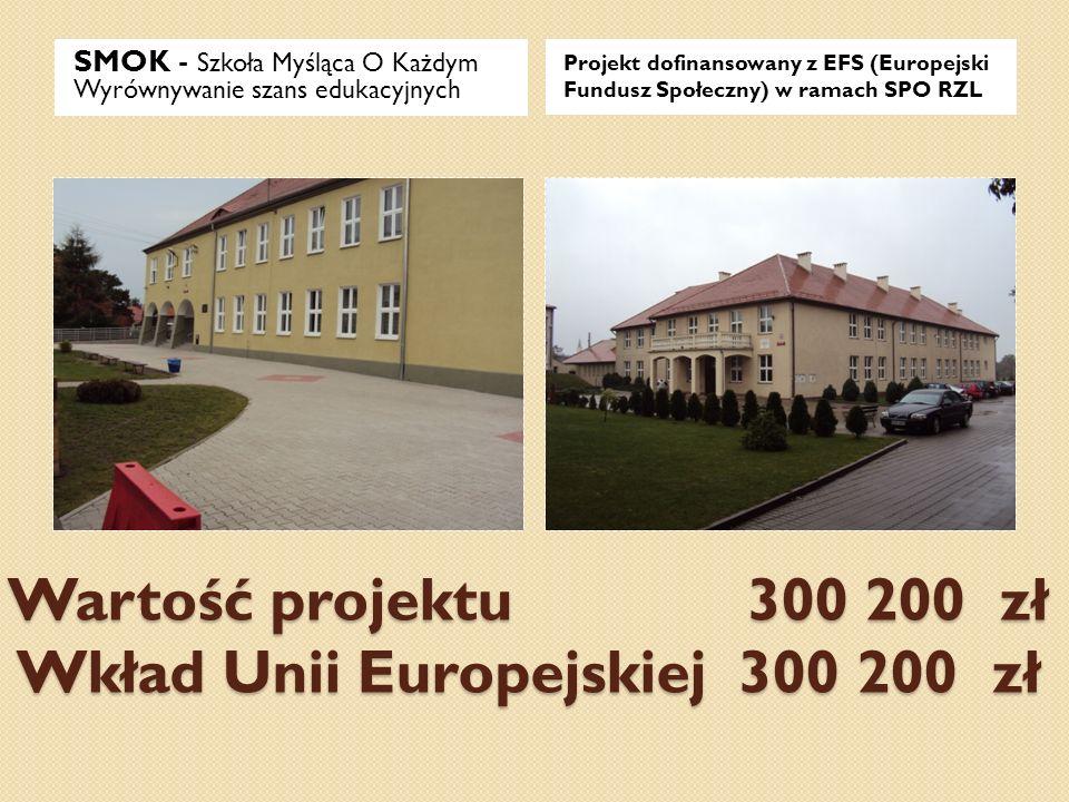 Wartość projektu 300 200 zł Wkład Unii Europejskiej 300 200 zł SMOK - Szkoła Myśląca O Każdym Wyrównywanie szans edukacyjnych Projekt dofinansowany z