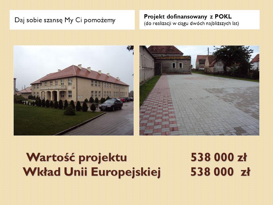 Wartość projektu 538 000 zł Wkład Unii Europejskiej 538 000 zł Daj sobie szansę My Ci pomożemy Projekt dofinansowany z POKL (do realizacji w ciągu dwó