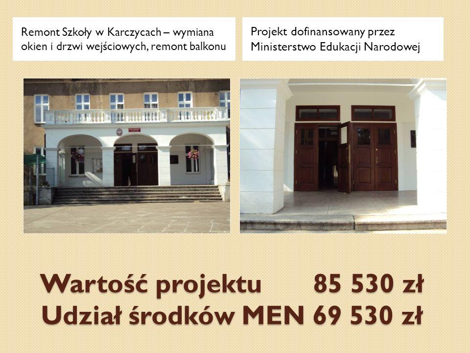 Wartość projektu 85 530 zł Udział środków MEN 69 530 zł Remont Szkoły w Karczycach – wymiana okien i drzwi wejściowych, remont balkonu Projekt dofinan