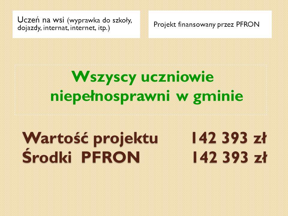 Wartość projektu 142 393 zł Środki PFRON 142 393 zł Uczeń na wsi (wyprawka do szkoły, dojazdy, internat, internet, itp.) Projekt finansowany przez PFR