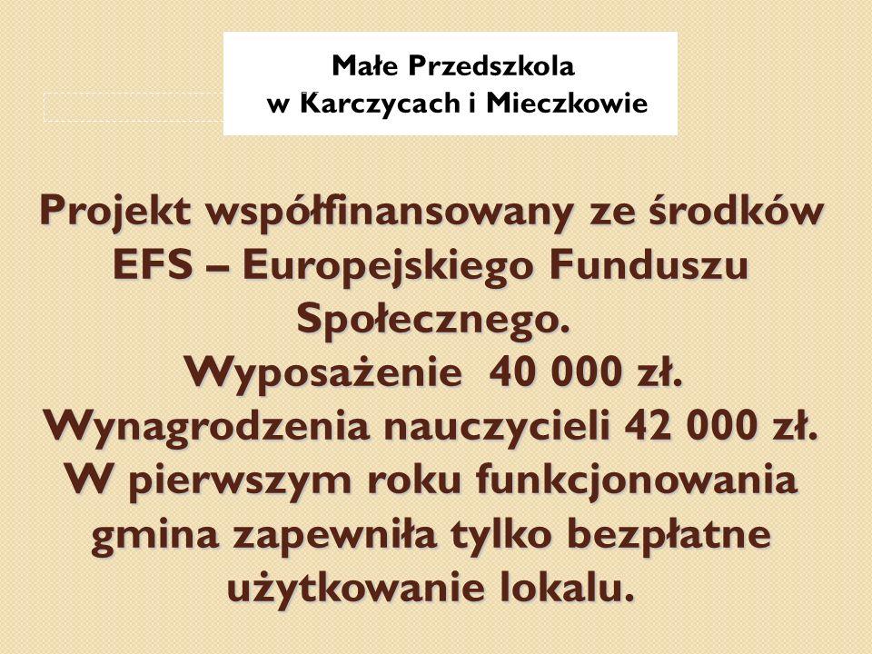 Projekt współfinansowany ze środków EFS – Europejskiego Funduszu Społecznego. Wyposażenie 40 000 zł. Wynagrodzenia nauczycieli 42 000 zł. W pierwszym