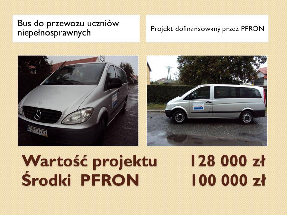 Wartość projektu 128 000 zł Środki PFRON 100 000 zł Bus do przewozu uczniów niepełnosprawnych Projekt dofinansowany przez PFRON