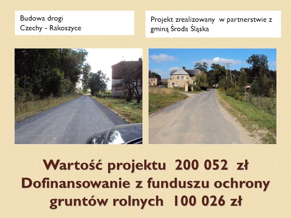 Wartość projektu 200 052 zł Dofinansowanie z funduszu ochrony gruntów rolnych 100 026 zł Budowa drogi Czechy - Rakoszyce Projekt zrealizowany w partne