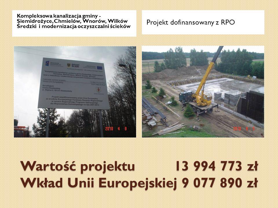 Wartość projektu 13 994 773 zł Wkład Unii Europejskiej 9 077 890 zł Kompleksowa kanalizacja gminy - Siemidrożyce, Chmielów, Wnorów, Wilków Średzki i m