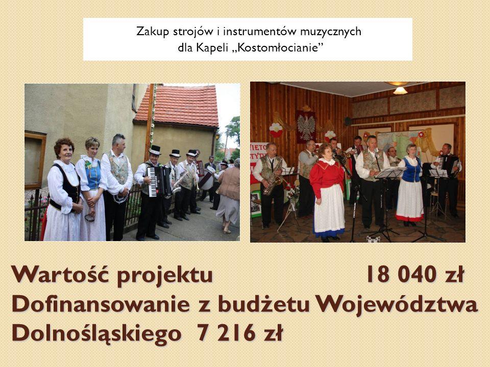 Zakup strojów i instrumentów muzycznych dla Kapeli Kostomłocianie Wartość projektu 18 040 zł Dofinansowanie z budżetu Województwa Dolnośląskiego 7 216