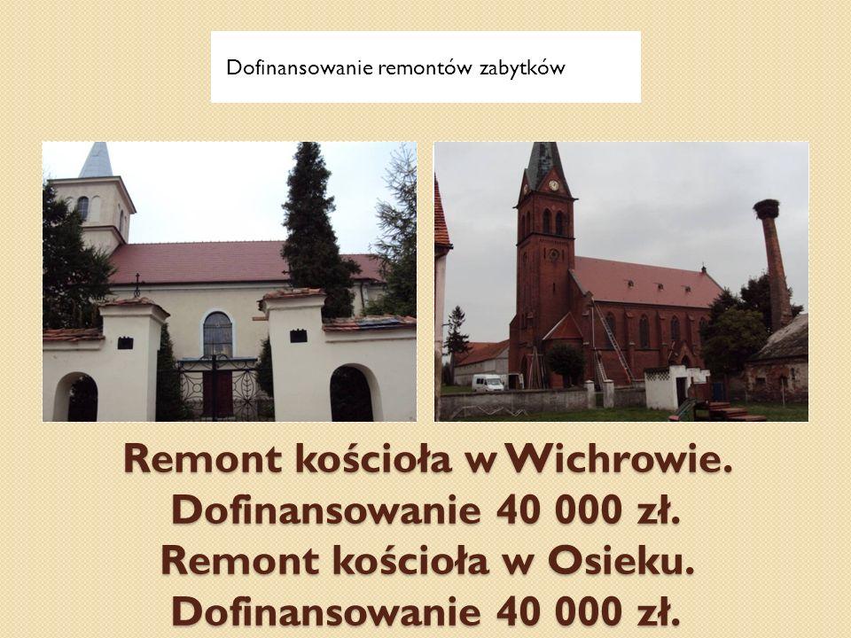 Remont kościoła w Wichrowie. Dofinansowanie 40 000 zł. Remont kościoła w Osieku. Dofinansowanie 40 000 zł. Dofinansowanie remontów zabytków