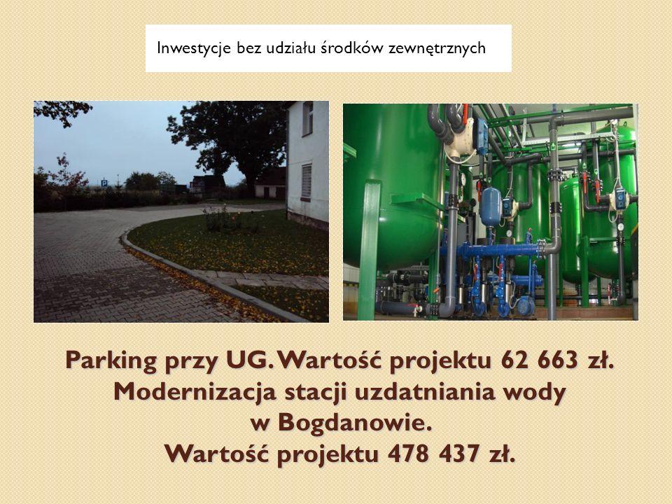 Parking przy UG. Wartość projektu 62 663 zł. Modernizacja stacji uzdatniania wody w Bogdanowie. Wartość projektu 478 437 zł. Inwestycje bez udziału śr