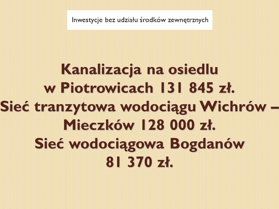 Kanalizacja na osiedlu w Piotrowicach 131 845 zł. Sieć tranzytowa wodociągu Wichrów – Mieczków 128 000 zł. Sieć wodociągowa Bogdanów 81 370 zł. Inwest