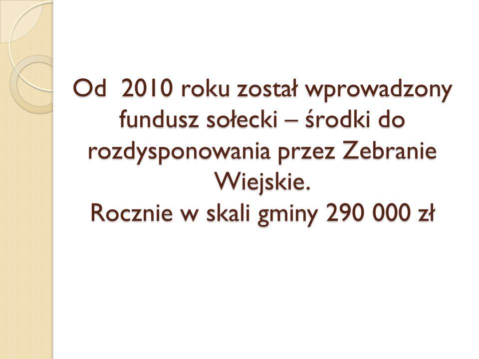 Od 2010 roku został wprowadzony fundusz sołecki – środki do rozdysponowania przez Zebranie Wiejskie. Rocznie w skali gminy 290 000 zł