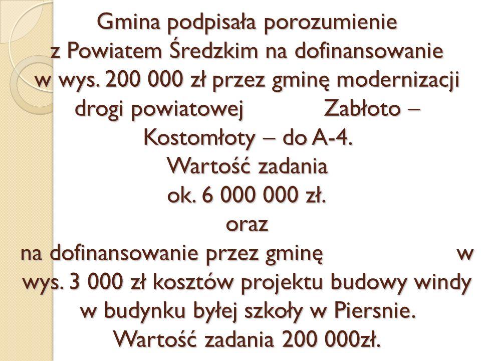 Gmina podpisała porozumienie z Powiatem Średzkim na dofinansowanie w wys. 200 000 zł przez gminę modernizacji drogi powiatowej Zabłoto – Kostomłoty –