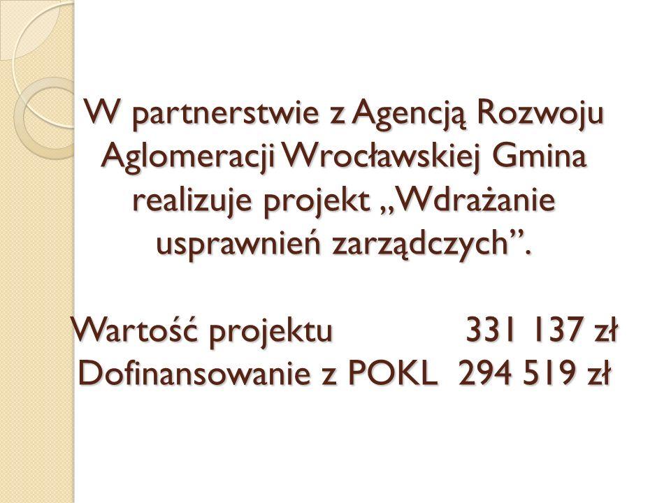 W partnerstwie z Agencją Rozwoju Aglomeracji Wrocławskiej Gmina realizuje projekt Wdrażanie usprawnień zarządczych. Wartość projektu 331 137 zł Dofina