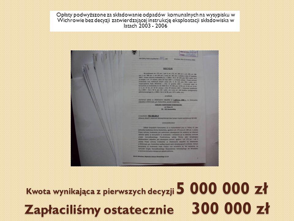 Kwota wynikająca z pierwszych decyzji 5 000 000 zł Zapłaciliśmy ostatecznie 300 000 zł Opłaty podwyższone za składowanie odpadów komunalnych na wysypi