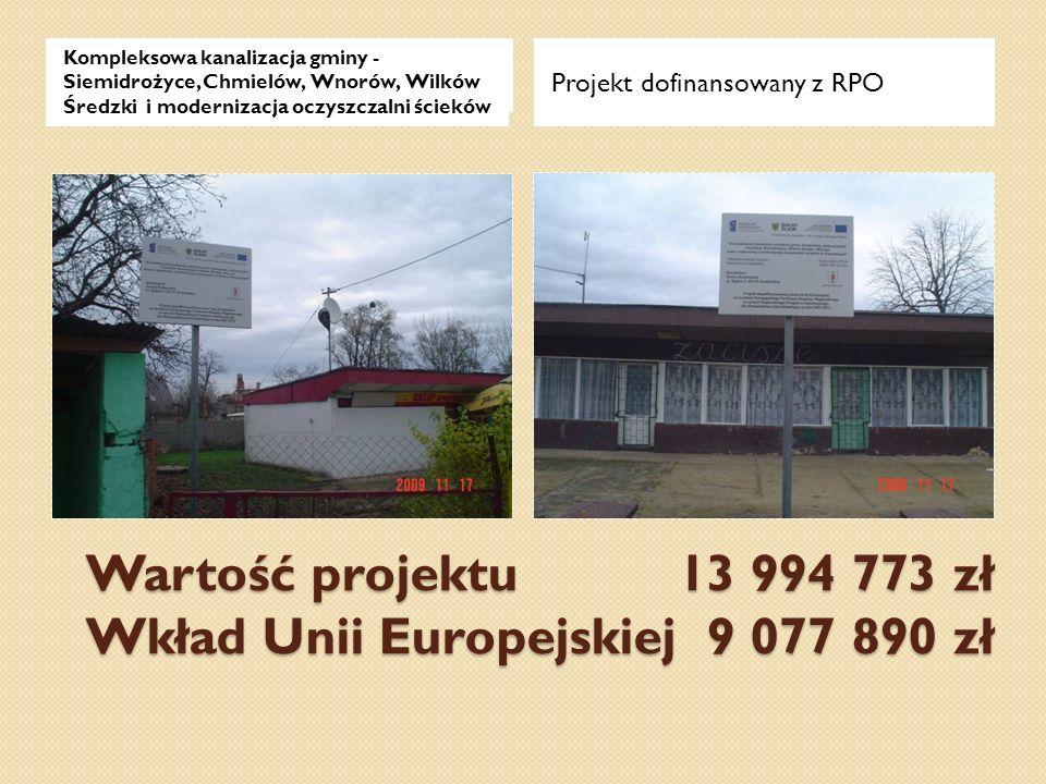 Wartość projektu 13 994 773 zł Wkład Unii Europejskiej 9 077 890 zł Projekt dofinansowany z RPO Kompleksowa kanalizacja gminy - Siemidrożyce, Chmielów