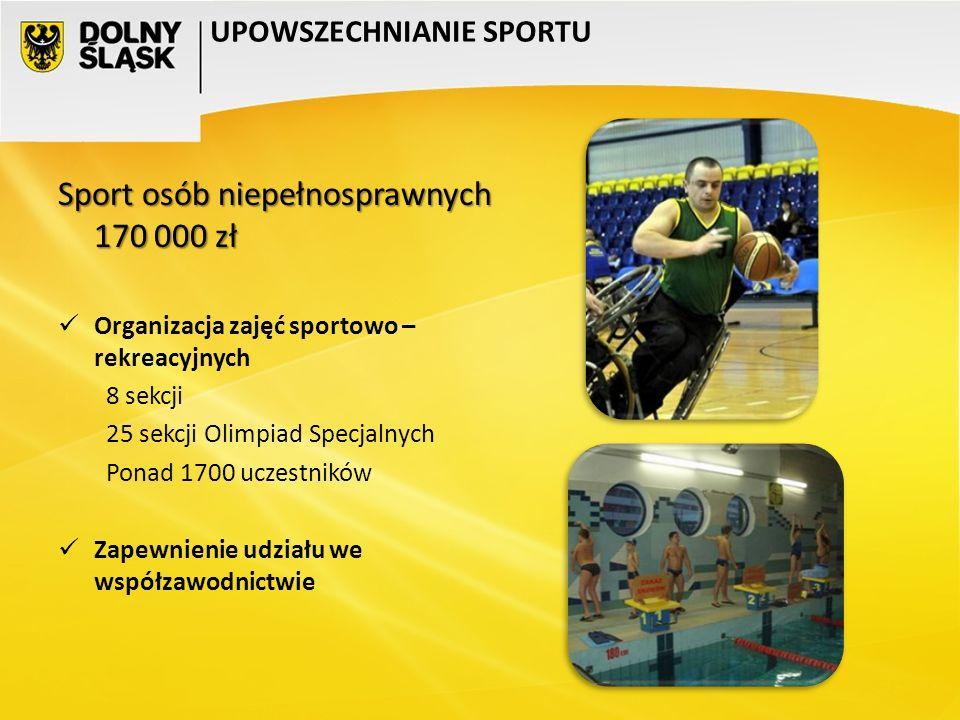 Sport osób niepełnosprawnych 170 000 zł Organizacja zajęć sportowo – rekreacyjnych 8 sekcji 25 sekcji Olimpiad Specjalnych Ponad 1700 uczestników Zape