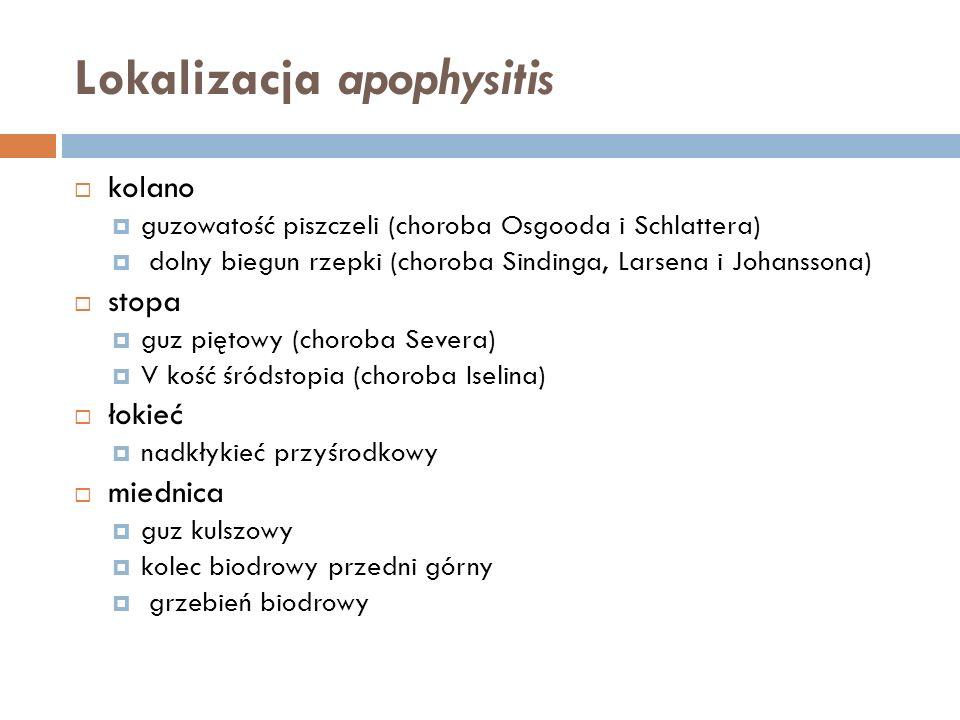 Lokalizacja apophysitis kolano guzowatość piszczeli (choroba Osgooda i Schlattera) dolny biegun rzepki (choroba Sindinga, Larsena i Johanssona) stopa