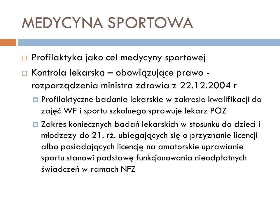 MEDYCYNA SPORTOWA Profilaktyka jako cel medycyny sportowej Kontrola lekarska – obowiązujące prawo - rozporządzenia ministra zdrowia z 22.12.2004 r Pro