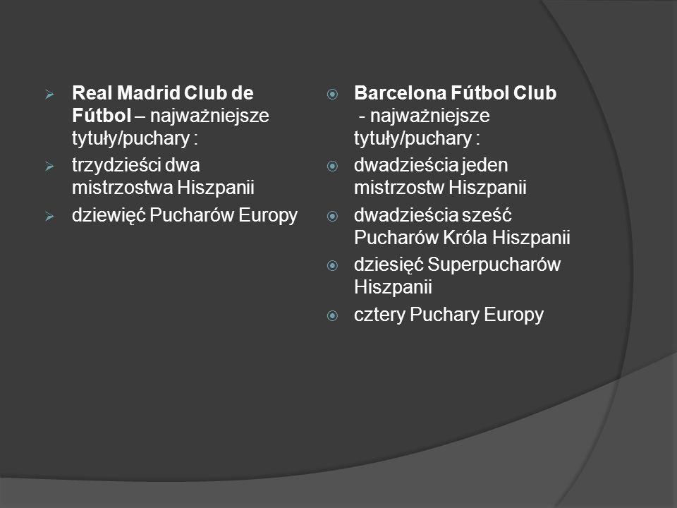 Real Madrid Club de Fútbol – najważniejsze tytuły/puchary : trzydzieści dwa mistrzostwa Hiszpanii dziewięć Pucharów Europy Barcelona Fútbol Club - naj
