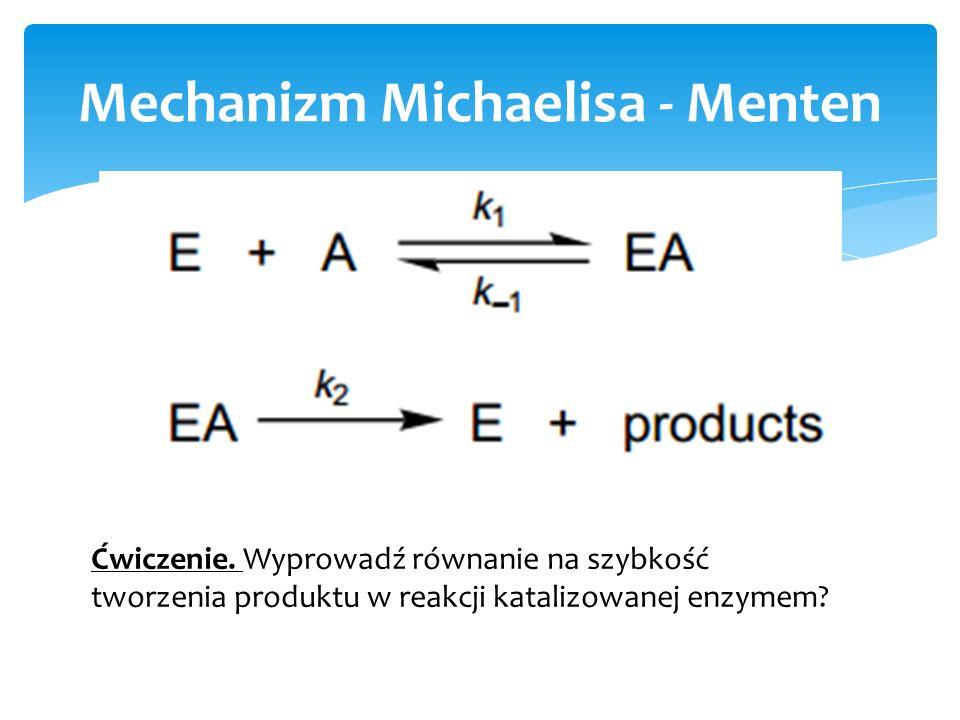 Mechanizm Michaelisa - Menten Ćwiczenie. Wyprowadź równanie na szybkość tworzenia produktu w reakcji katalizowanej enzymem?