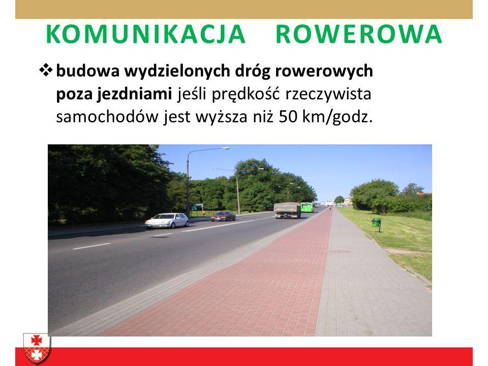 budowa wydzielonych dróg rowerowych poza jezdniami jeśli prędkość rzeczywista samochodów jest wyższa niż 50 km/godz. KOMUNIKACJA ROWEROWA