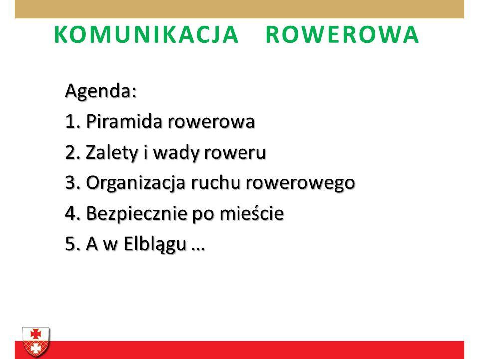 KOMUNIKACJA ROWEROWA Agenda: 1. Piramida rowerowa 2. Zalety i wady roweru 3. Organizacja ruchu rowerowego 4. Bezpiecznie po mieście 5. A w Elblągu …