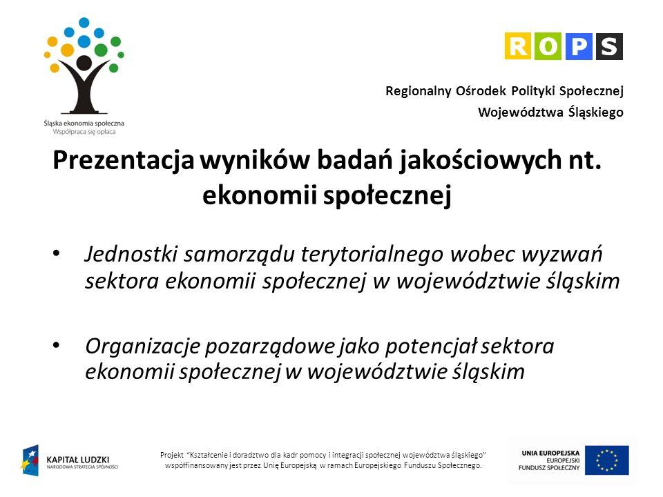 Kontekst realizacji badań Projekt systemowy Kształcenie i doradztwo dla kadr pomocy i integracji społecznej województwa śląskiego Wieloletni regionalny plan działań na rzecz promocji i upowszechniania ekonomii społecznej oraz rozwoju instytucji sektora ekonomii społecznej i jej otoczenia w województwie śląskim, na lata 2012 – 2020 Obserwatorium Integracji Społecznej działające przy Regionalnym Ośrodku Polityki Społecznej Województwa Śląskiego Efektywna i skuteczna przedsiębiorczość społeczna – innowacyjny projekt Regionalnego Ośrodek Polityki Społecznej Województwa Śląskiego, realizowany w partnerstwie z Instytutem Pracy i Spraw Socjalnych 2