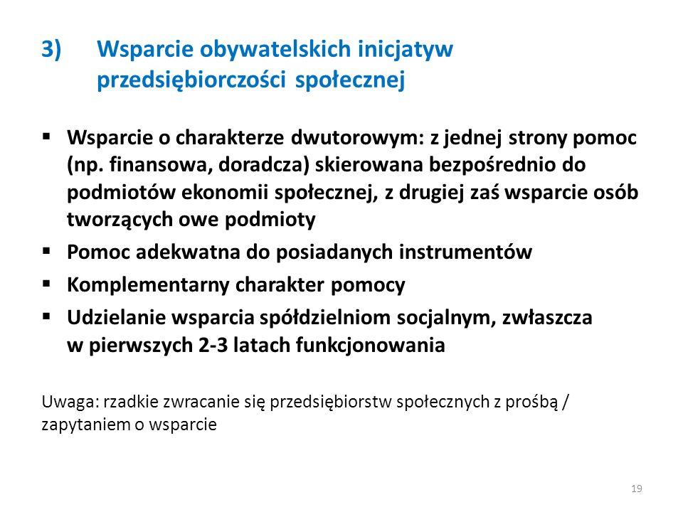 3)Wsparcie obywatelskich inicjatyw przedsiębiorczości społecznej Wsparcie o charakterze dwutorowym: z jednej strony pomoc (np.