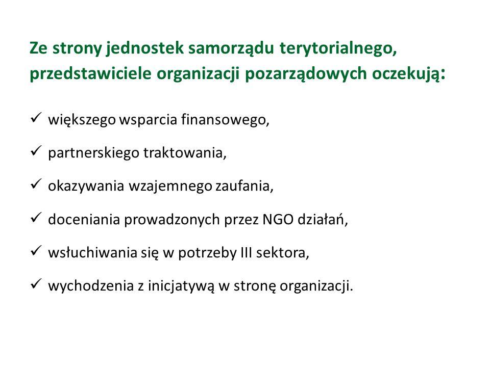 Ze strony jednostek samorządu terytorialnego, przedstawiciele organizacji pozarządowych oczekują : większego wsparcia finansowego, partnerskiego traktowania, okazywania wzajemnego zaufania, doceniania prowadzonych przez NGO działań, wsłuchiwania się w potrzeby III sektora, wychodzenia z inicjatywą w stronę organizacji.