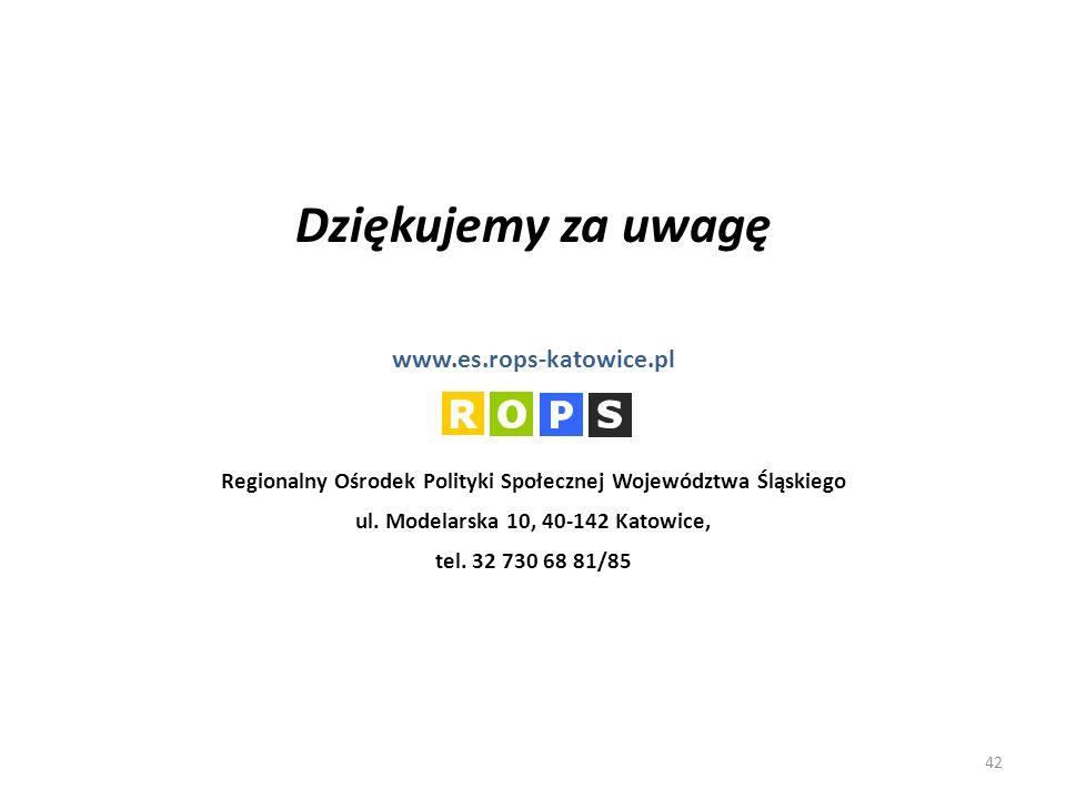 Dziękujemy za uwagę www.es.rops-katowice.pl Regionalny Ośrodek Polityki Społecznej Województwa Śląskiego ul.