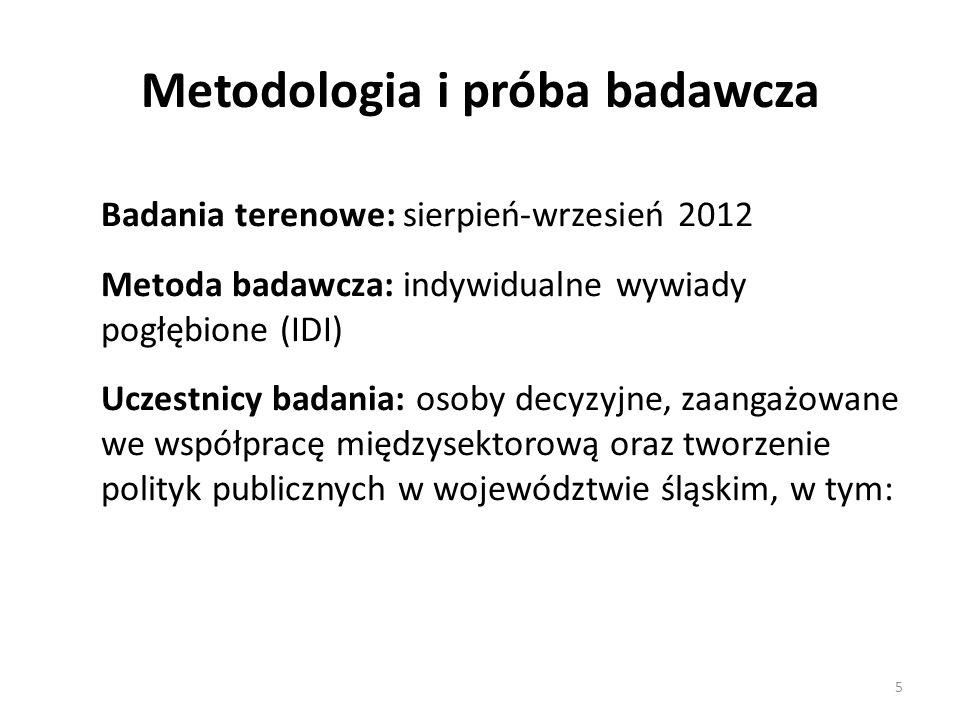 Metodologia i próba badawcza Badania terenowe: sierpień-wrzesień 2012 Metoda badawcza: indywidualne wywiady pogłębione (IDI) Uczestnicy badania: osoby decyzyjne, zaangażowane we współpracę międzysektorową oraz tworzenie polityk publicznych w województwie śląskim, w tym: 5