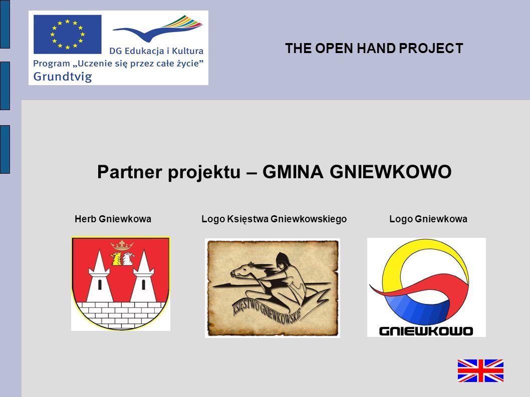 Partner projektu – GMINA GNIEWKOWO Herb Gniewkowa Logo Księstwa Gniewkowskiego Logo Gniewkowa THE OPEN HAND PROJECT