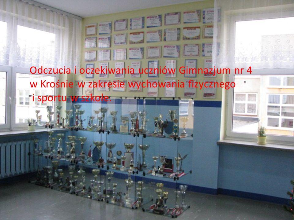 Odczucia i oczekiwania uczniów Gimnazjum nr 4 w Krośnie w zakresie wychowania fizycznego i sportu w szkole.