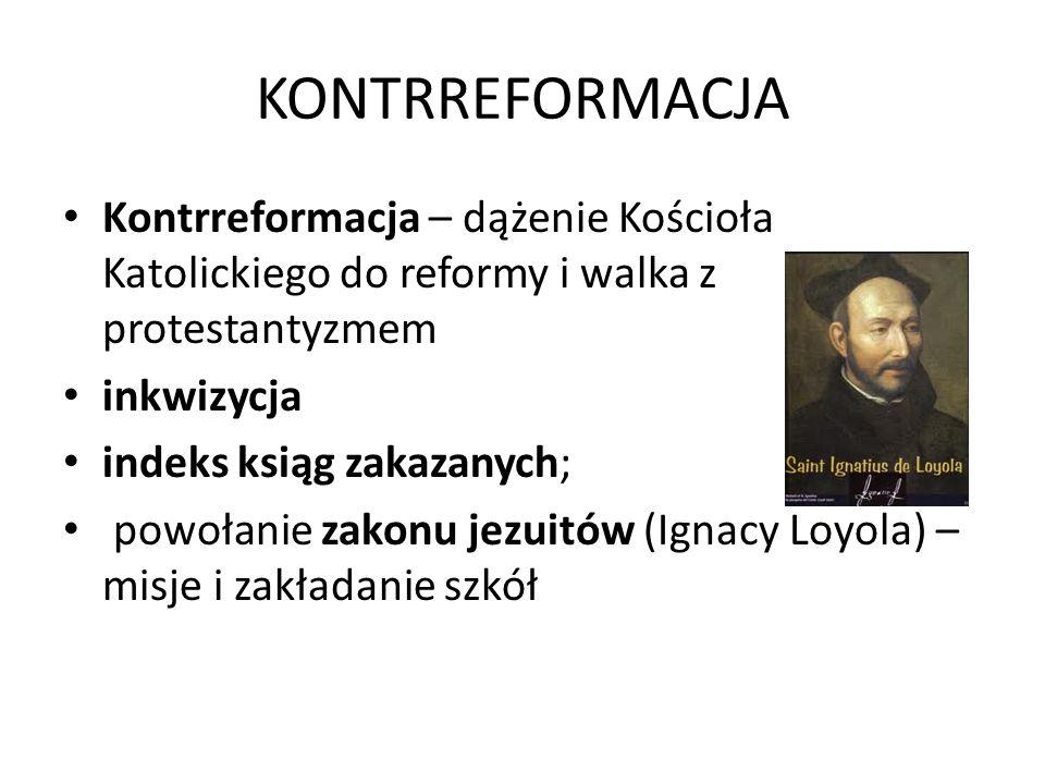 KONTRREFORMACJA Kontrreformacja – dążenie Kościoła Katolickiego do reformy i walka z protestantyzmem inkwizycja indeks ksiąg zakazanych; powołanie zakonu jezuitów (Ignacy Loyola) – misje i zakładanie szkół
