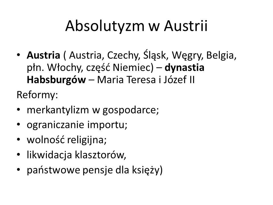 Absolutyzm w Austrii Austria ( Austria, Czechy, Śląsk, Węgry, Belgia, płn.