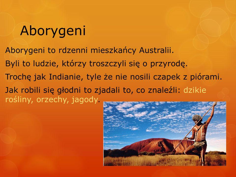 Aborygeni Aborygeni to rdzenni mieszkańcy Australii. Byli to ludzie, którzy troszczyli się o przyrodę. Trochę jak Indianie, tyle że nie nosili czapek