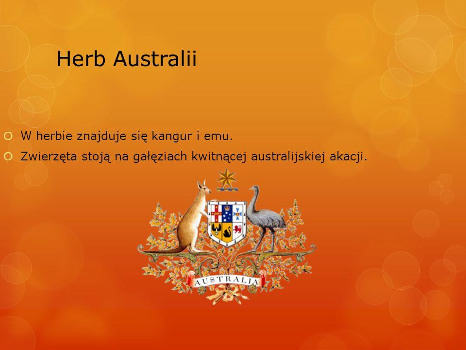 Herb Australii W herbie znajduje się kangur i emu. Zwierzęta stoją na gałęziach kwitnącej australijskiej akacji.