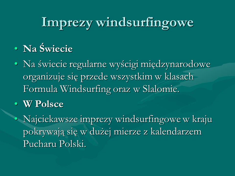 Imprezy windsurfingowe Na ŚwiecieNa Świecie Na świecie regularne wyścigi międzynarodowe organizuje się przede wszystkim w klasach Formula Windsurfing