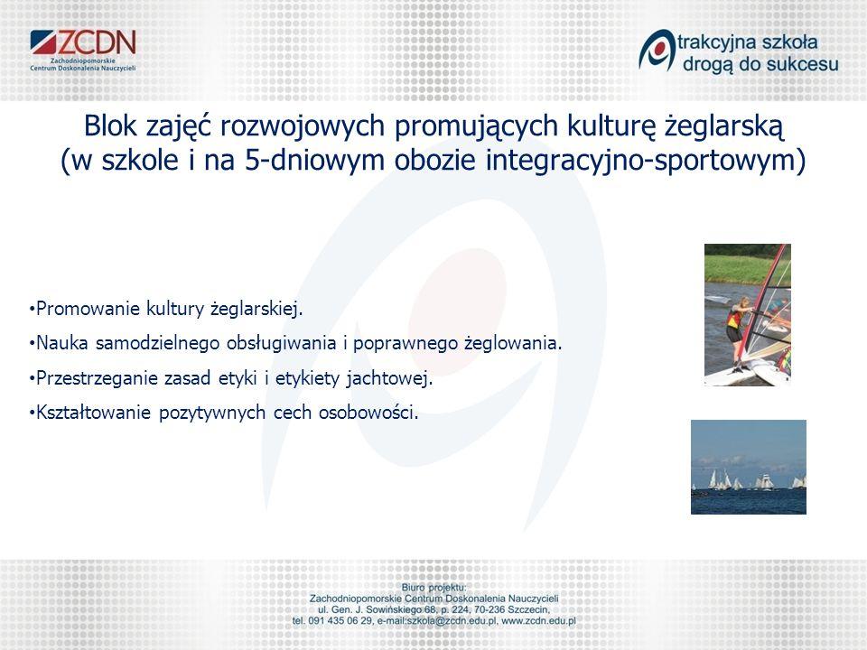 Blok zajęć rozwojowych promujących kulturę żeglarską (w szkole i na 5-dniowym obozie integracyjno-sportowym) Promowanie kultury żeglarskiej.