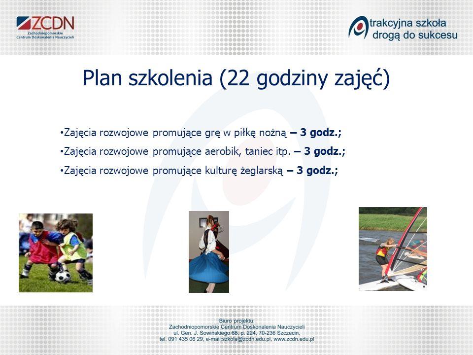 Plan szkolenia (22 godziny zajęć) Zajęcia rozwojowe promujące grę w piłkę nożną – 3 godz.; Zajęcia rozwojowe promujące aerobik, taniec itp.