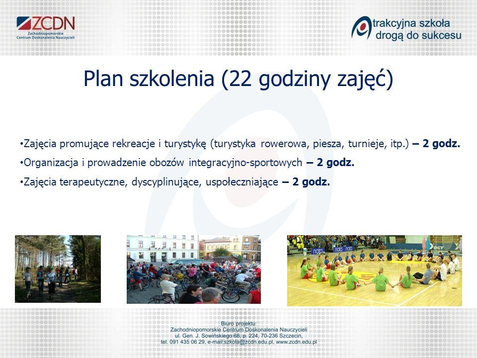 Plan szkolenia (22 godziny zajęć) Zajęcia promujące rekreacje i turystykę (turystyka rowerowa, piesza, turnieje, itp.) – 2 godz.