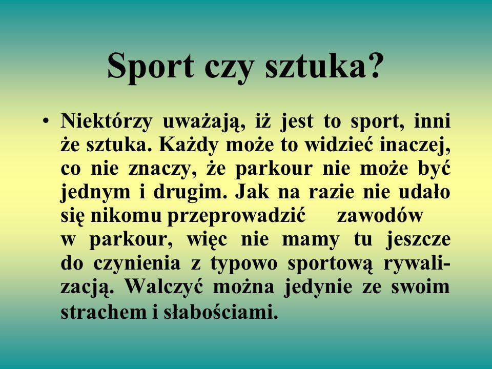 Sport czy sztuka? Niektórzy uważają, iż jest to sport, inni że sztuka. Każdy może to widzieć inaczej, co nie znaczy, że parkour nie może być jednym i