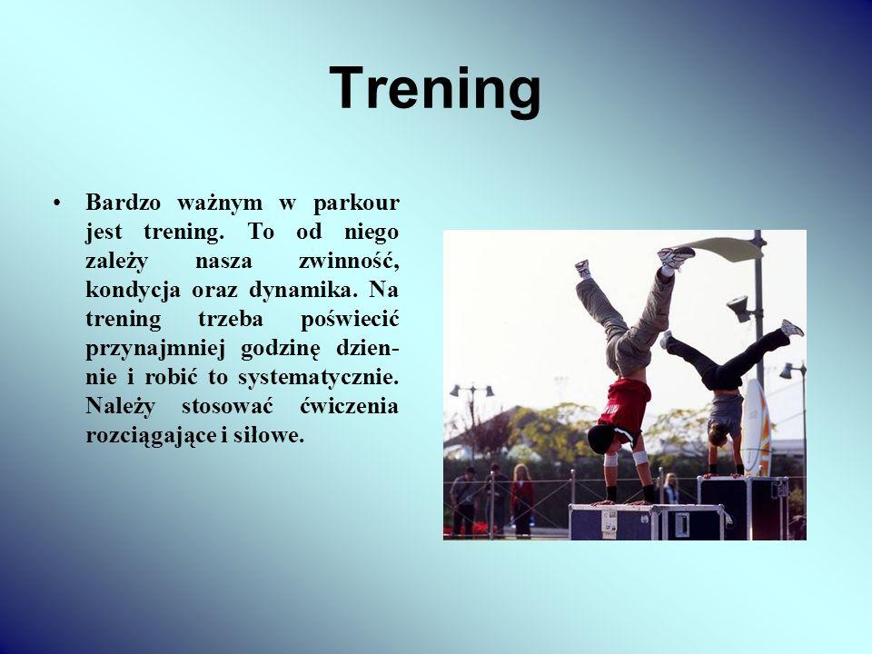 Trening Bardzo ważnym w parkour jest trening. To od niego zależy nasza zwinność, kondycja oraz dynamika. Na trening trzeba poświecić przynajmniej godz