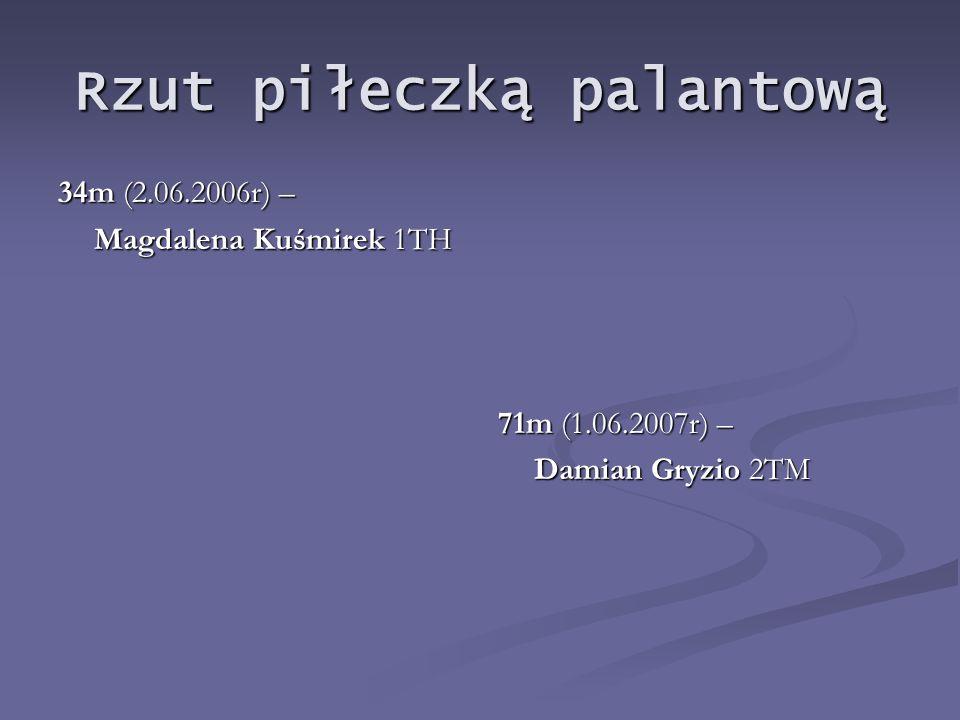 Rzut piłeczką palantową 34m (2.06.2006r) – Magdalena Kuśmirek 1TH 71m (1.06.2007r) – Damian Gryzio 2TM