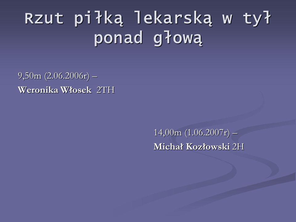 Rzut piłką lekarską w tył ponad głową 9,50m (2.06.2006r) – Weronika Włosek 2TH 14,00m (1.06.2007r) – Michał Kozłowski 2H
