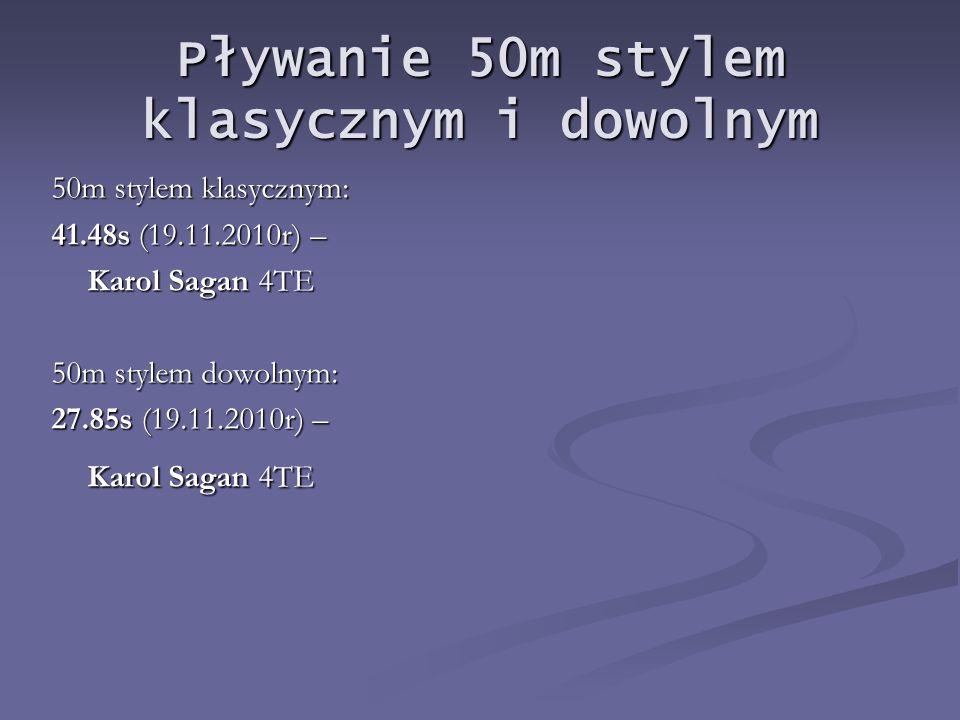 Pływanie 50m stylem klasycznym i dowolnym 50m stylem klasycznym: 41.48s (19.11.2010r) – Karol Sagan 4TE 50m stylem dowolnym: 27.85s (19.11.2010r) – Karol Sagan 4TE