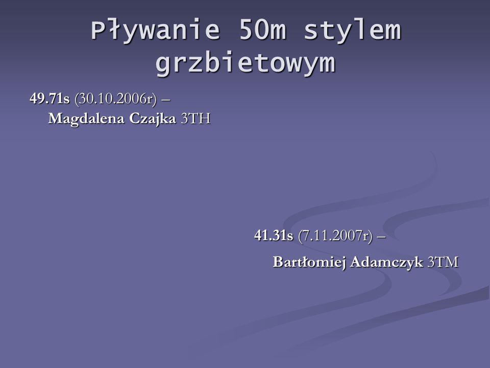 Pływanie 50m stylem grzbietowym 49.71s (30.10.2006r) – Magdalena Czajka 3TH 41.31s (7.11.2007r) – Bartłomiej Adamczyk 3TM